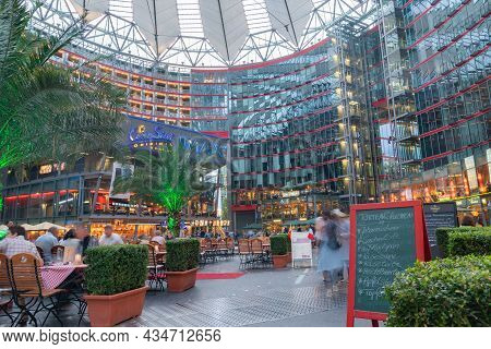 Berlin, Germany - August 28 2017; Sony Center Courtyard Under High Canopy Covering Theaters Cafes, R