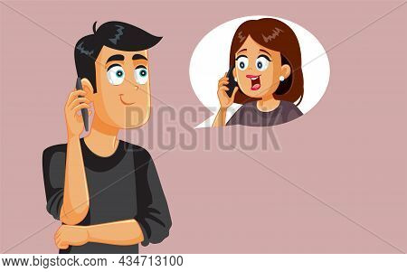 Husband Speaking On The Phone With His Wife Vector Cartoon