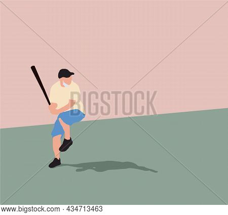 Baseball Player And Batter Are Playing With Sanitary Masks Wearing. Vector Illustration. Summer Spor