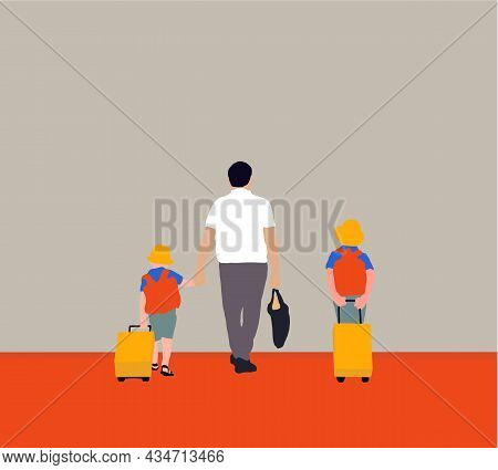 Father And Kids Walking Together Holding Hands Go To The School In The Morning. Young Parents With S