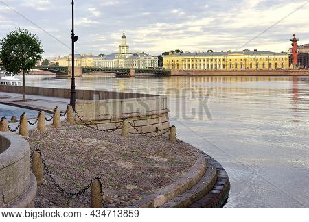 Hermitage Pier On The Neva River. View Of The Palace Bridge, The Building Of The Kunstkamera. Archit