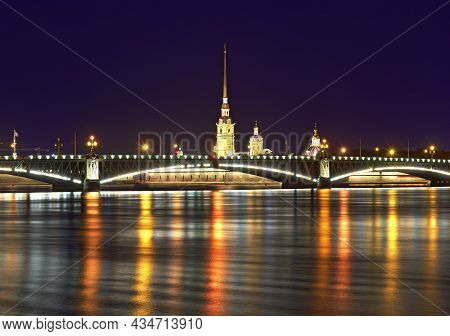 Night City. View Of The Trinity Bridge And Peter And Paul Cathedral In The Night Lights Reflected In