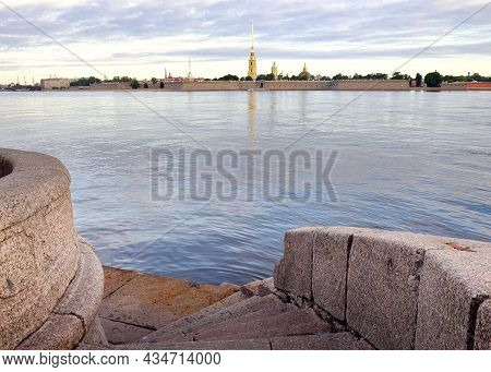 Descent To The Neva. Granite Parapet With Stairs On The Palace Embankment, View Of The Peter And Pau