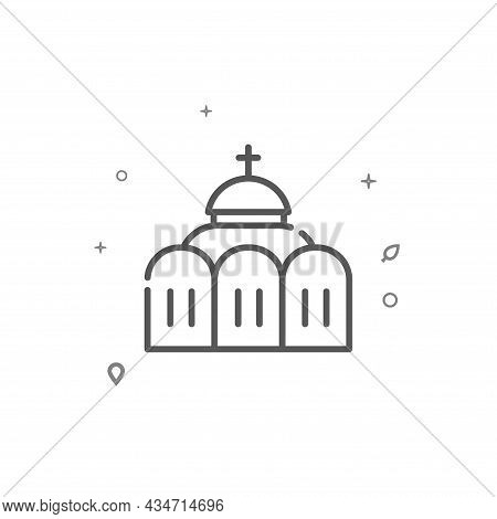 Orthodox Church Simple Vector Line Icon. Building Symbol, Pictogram, Sign Isolated On White Backgrou