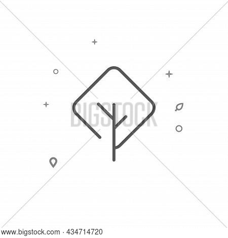 Diamond-shaped Tree Simple Vector Line Icon. Tree Sign Isolated On White Background. Editable Stroke