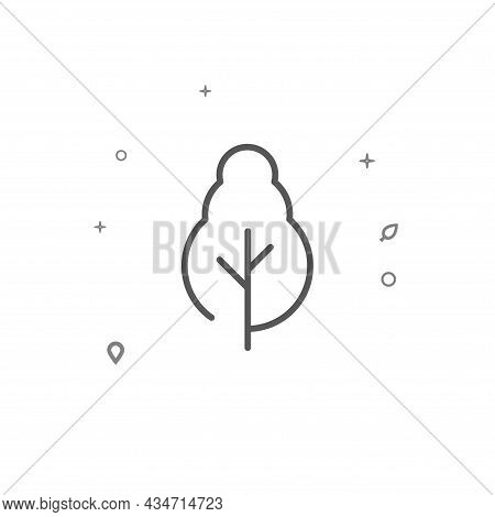 Deciduous Tree Tree Simple Vector Line Icon. Grey Sign Isolated On White Background. Editable Stroke