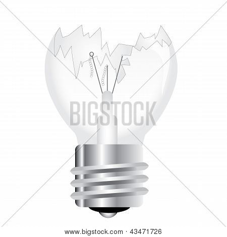 Broken bulb isolated on white background vector poster