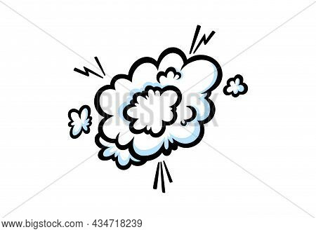 Banging Steam Ring In Comic Style. Round Cloud Of Vapour Or Smoke Blasting In The Air. Vector Illust