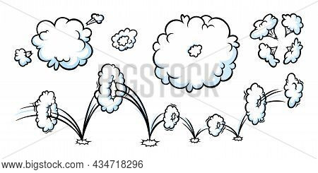 Comic Boom Smoke Effect. Puff And Jump Clouds For Surprising And Explosive Events. Vector Illustarti