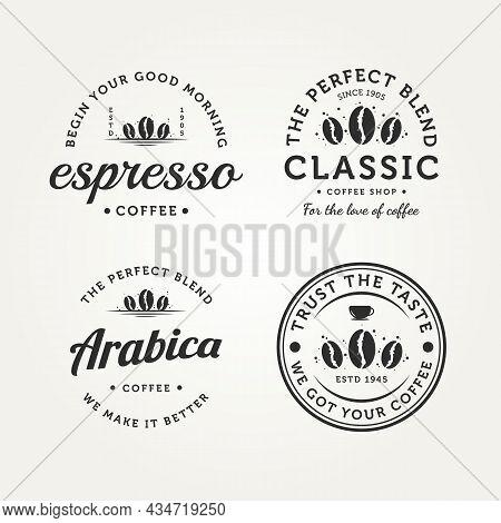 Set Of Vintage Retro Coffee Badge Logo Vector Illustration Design. Classic Bar, Restaurant, Cafe Bun