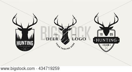 Set Of Vintage Hunting Logo With Deer Head Badge Logo Vector Illustration Design. Retro Hunting Adve