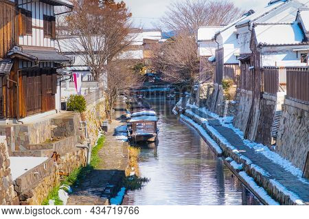 Beautiful And Clean Canal Surrounding With Old Vintage House In Travel Village In Winter, Canal In A