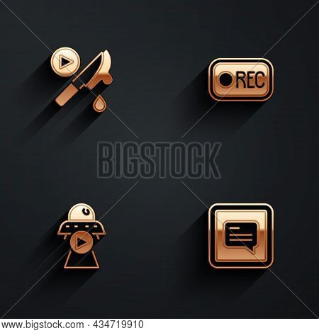 Set Thriller Movie, Record Button, Science Fiction And Video With Subtitles Icon With Long Shadow. V