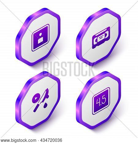 Set Isometric Play Video, Vhs Video Cassette Tape, Thriller Movie And Rating Icon. Purple Hexagon Bu