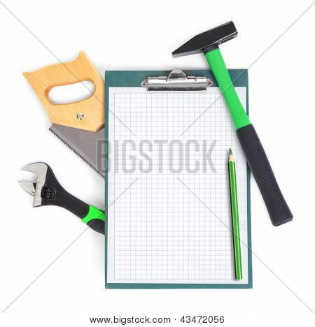 Clipboard And Green Tools