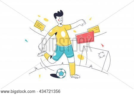 Teenager Playing Football On Stadium Vector Illustration. Guy Try To Score Goal Linear Style. Sport,
