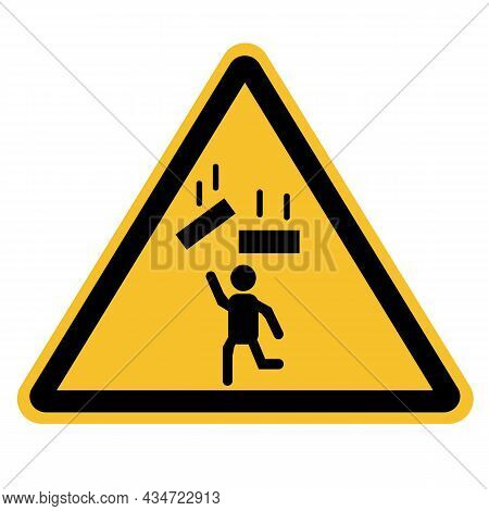 Warning Falling Objects Icon On White Background. Falling Objects Symbol. Falling Object Warning Sig