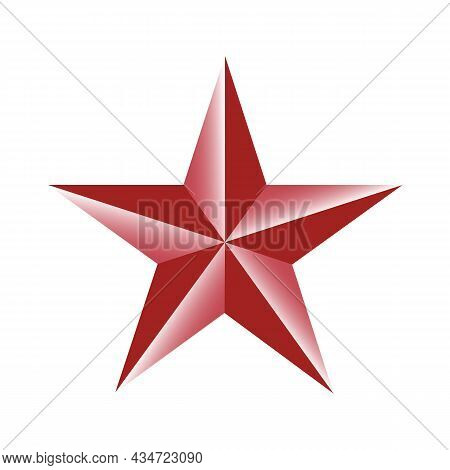 Five-pointed Red Star On White Background. Ussr Design Element. Communism, Socialism Sign. Vector Il
