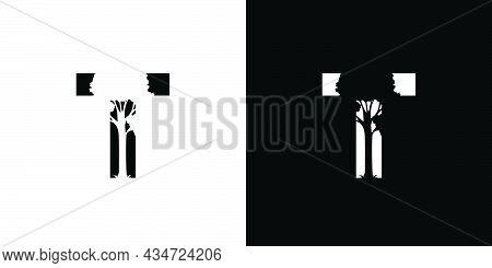 Logo Design Initials Letter T A Combination Of A Unique And Elegant Tree