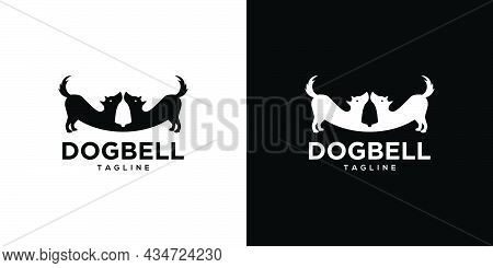 Logo Design Of 2 Dogs With A Unique And Attractive Combination Of A Bell