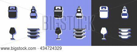 Set Washing Dishes, Trash Can, Wine Glass And Dishwashing Liquid Bottle Icon. Vector