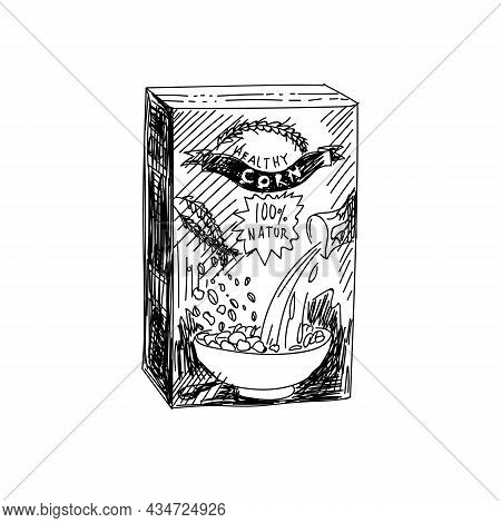 Healthy Corn Packet Hand Drawn Black And White Vector Illustration. Retro Cornflakes Sketch. Cereal,