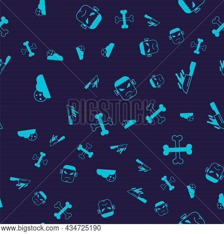 Set Moon And Stars, Bloody Knife, Frankenstein Face And Crossed Bones On Seamless Pattern. Vector