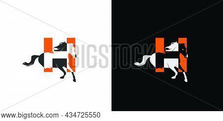 Simple And Unique Initial H Horse Logo Design