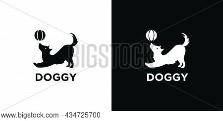 Unique And Cute Playing Ball Dog Logo Design