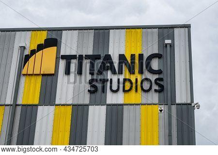 Belfast, N.ireland- Sept 4, 2021: The Sign For The Titanic Studius At Belfast Docks.
