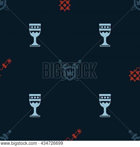Set Mace With Spikes, Shield Swords And Medieval Goblet On Seamless Pattern. Vector