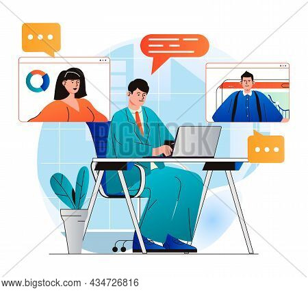 Video Conference Concept In Modern Flat Design. Colleagues Communicate Remotely Using Group Video Ca