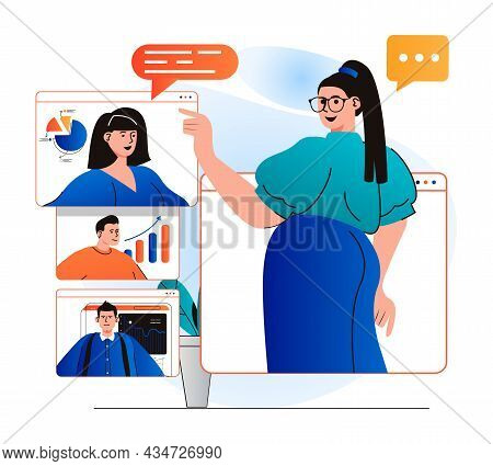 Video Conference Concept In Modern Flat Design. Woman Listens To Colleagues Reports Remotely Using G