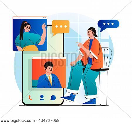 Video Chatting Concept In Modern Flat Design. Friends Communicate By Group Video Call At Different S