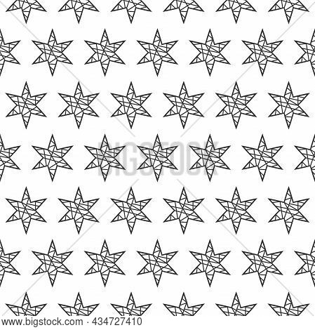 Seamless Pattern With Faceted Icy Stars On White Background. Vector Illustration. Magic Fireworks. S