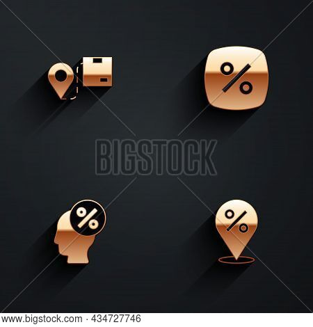 Set Location With Cardboard Box, Discount Percent Tag, And Icon With Long Shadow. Vector