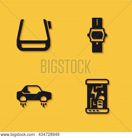 Set Smart Glasses On Spectacles, Cryogenic Capsules, Fantastic Flying Car And Wrist Watch Icon With