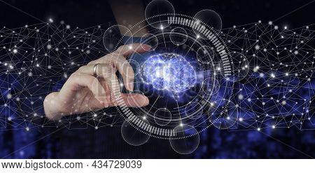 Artificial Intelligence Industry 4.0. Hand Hold Digital Hologram Brain Sign On City Dark Blurred Bac