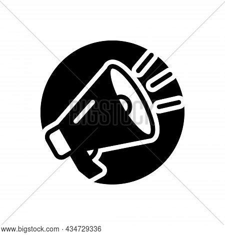 Black Solid Icon For Shout Exclaim Scream Bawl Holler Megaphone Horn Speak Voice Broadcast Speaker S