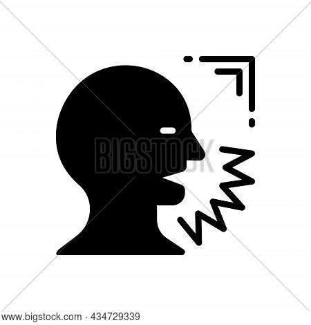 Black Solid Icon For Shout Shout Exclaim Scream Bawl Holler Speak Voice Sound