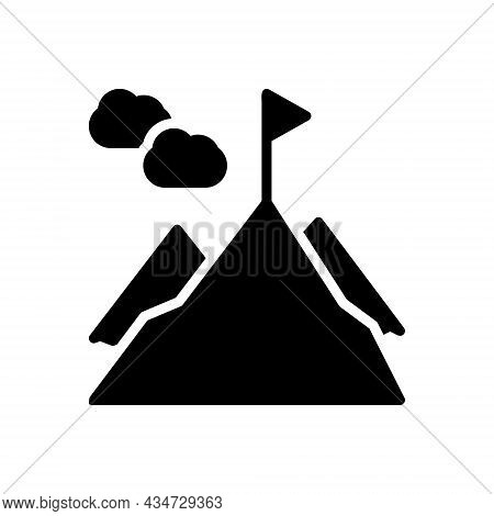 Black Solid Icon For Top Peak Pinnacle Mountain Flag Highest Upper Uppermost