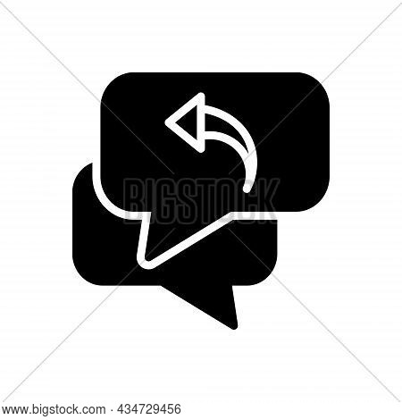 Black Solid Icon For Respond Response Repercussion Acknowledge Answer Communication Interchange Bubb