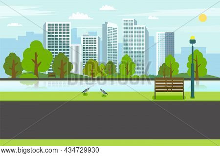 Public Park With Bench River City.road On Park With River And Cityscape.nature Spring Scene With Cit