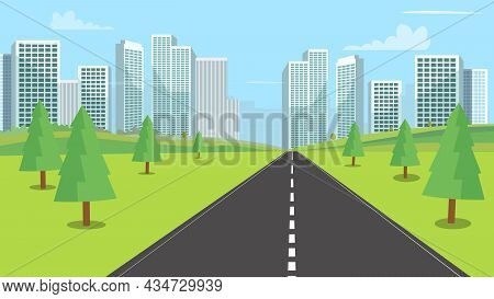 Street Nature Landscape With Modern City Backgroud Vector Illustration.urban Town Cityscape And Natu