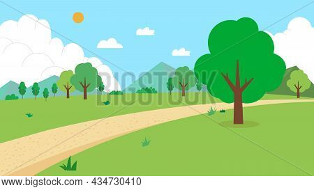 Nature Landscape With Road Vector Illustration.field With Mountain, Trees, Sun, Sky, And Clouds.gree