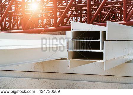 Photo Of Steel I-beam Used In Steel Frame Construction, I-beam Steel, I-beam Steel Painted White Lay