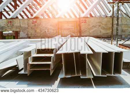 Steel Structure Construction, Photo Of Steel I-beam Used In Steel Frame Construction. I-beam Steel,