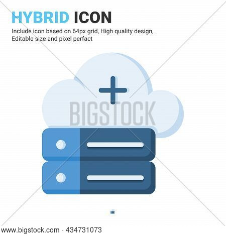 Hybrid Icon Vector With Flat Color Style Isolated On White Background. Vector Illustration Cloud Dat