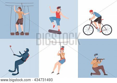 Extreme Outdoor Activities Six Square Icons Set Including Paintball Diving Skateboarding Rope Park F