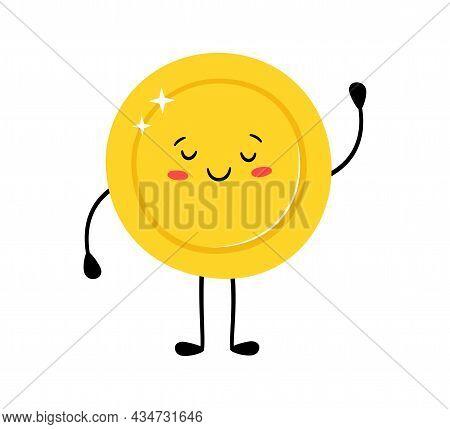 Cute Gold Coin. Funny Vector Cartoon Characters. Happy Winner. Vector Cartoon Illustration Isolated
